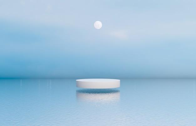 Sfondo di podio di bellezza naturale con scatola cilindrica per esposizione di prodotti cosmetici. Foto Premium