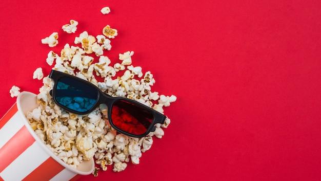 Sfondo di popcorn per il concetto di cinema Foto Gratuite
