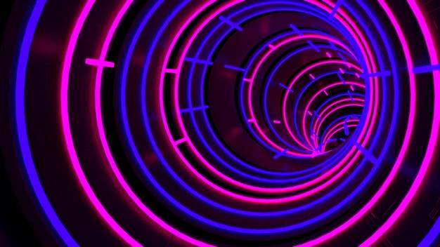 Sfondo di running in neon light circle tunnel in scena di festa retrò e alla moda. Foto Premium