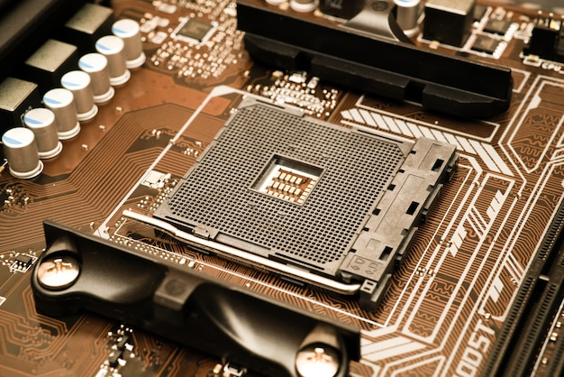 Sfondo di tecnologia con processori a semiconduttore server server struttura blu circuito concetto cpu Foto Premium