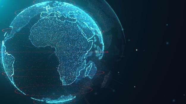 Sfondo di tecnologia dati mappa mondo Foto Premium