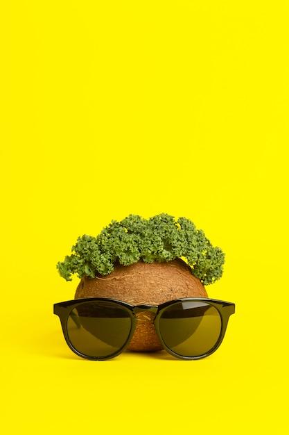 Sfondo estate tropicale. occhiali da sole, cocco e foglie verdi su sfondo giallo. faccia buffa fatta di frutta. concept creativo minimo Foto Premium