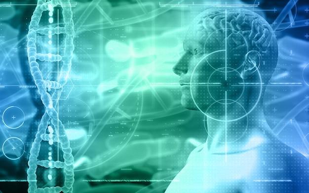 Sfondo medico 3d con figura maschile con fili di dna e cervello Foto Gratuite