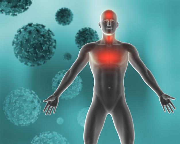Sfondo medico 3d raffigurante i sintomi del virus covid 19 Foto Gratuite