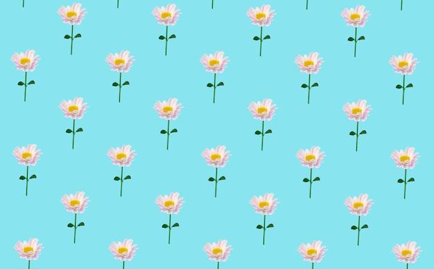 Sfondo minimal floreale. fiori su uno sfondo colorato. sfondo minimal creativo Foto Premium