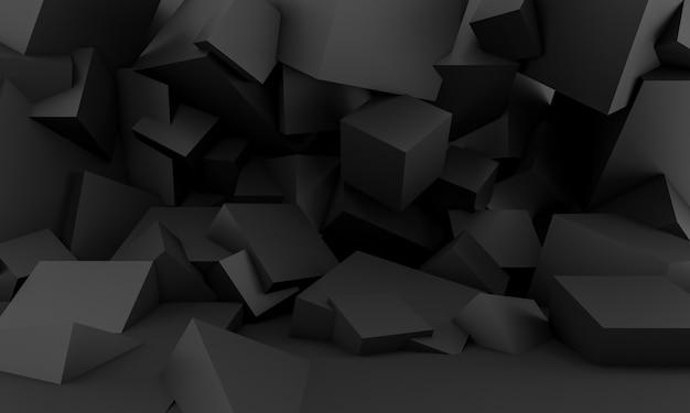 Sfondo nero minimalista con forme geometriche quadrate Foto Premium
