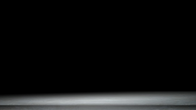 Sfondo nero per spettacolo di prodotti con elegante muro di cemento astratto chiaro, scuro e grigio Foto Premium
