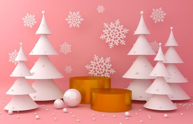 Sfondo oro e pino bianco per la presentazione del prodotto Foto Premium