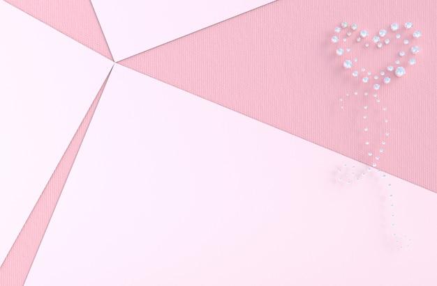Sfondo rosa di amore con diamante, cuore di gioielli. a san valentino. Foto Premium