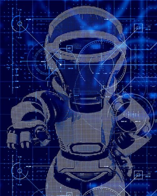 Sfondo tecnologia 3d con design robot Foto Gratuite