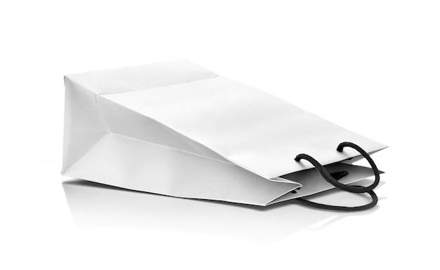 Shopping bag di carta bianca vuota per design mock-up Foto Premium