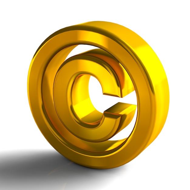 Simboli di copyright marchio 3d 3d colore oro rendering isolato su sfondo bianco Foto Premium