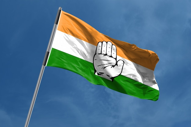 Simbolo della bandiera del congresso nazionale indiano che ondeggia, india Foto Premium