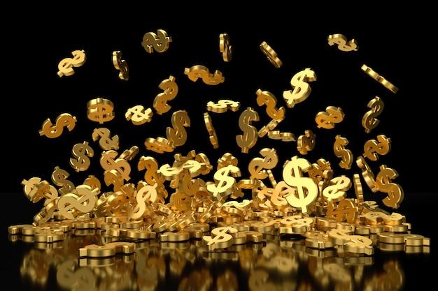 Simbolo dorato del dollaro che vola antigravità. Foto Premium