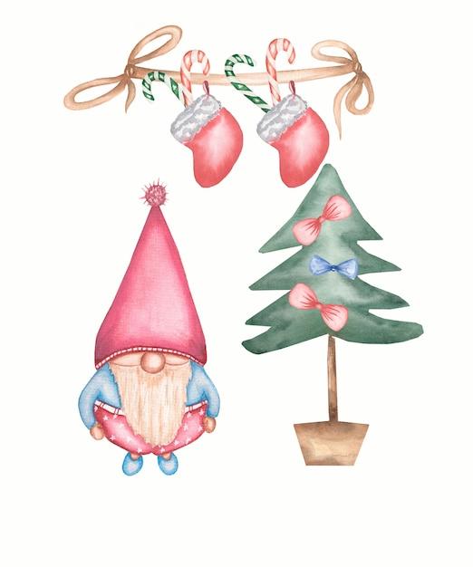 Simpatica cartolina di natale gnomo vicino all'albero di natale. insieme dell'illustrazione dell'acquerello isolato Foto Premium