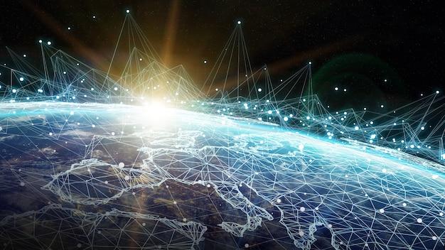 Sistema di connessioni e scambi di dati sul rendering 3d del pianeta terra Foto Premium