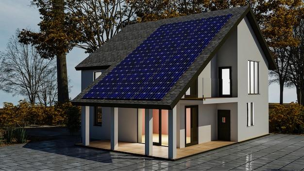 Sistema di energia solare 3d con pannelli solari fotovoltaici sul tetto della casa. rendering 3d. Foto Premium