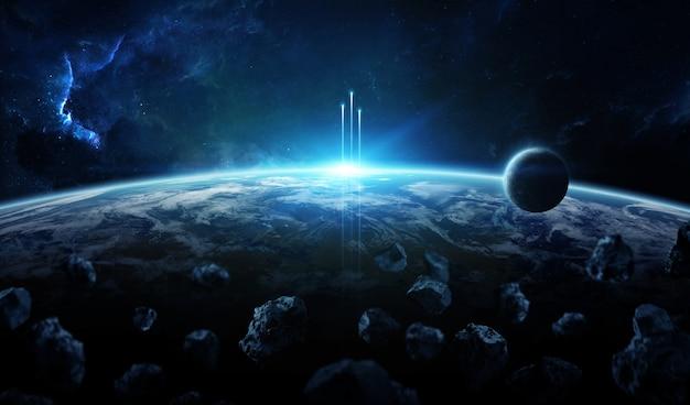 Sistema di pianeta distante nello spazio con esopianeti Foto Premium