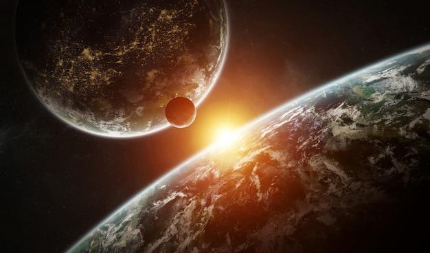 Sistema di pianeta distante nello spazio con rendering 3d di esopianeti Foto Premium