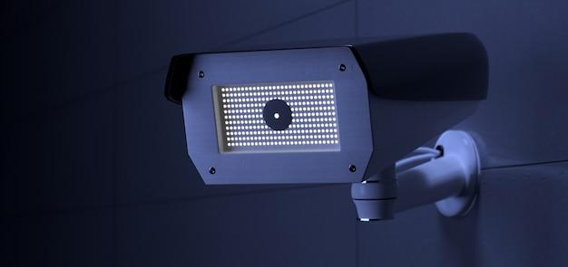 Sistema di telecamere cctv di sicurezza, rendering 3d Foto Premium