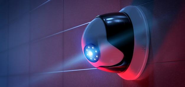 Sistema di telecamere cctv di sicurezza - rendering 3d Foto Premium