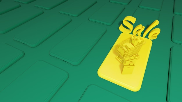 Smart phone 3d mock up. smart phone cg. yelow smart phone su green background.3d rendering, Foto Premium