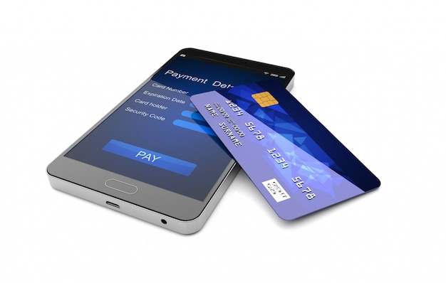 Smartphone con la rappresentazione della carta di credito 3d Foto Premium