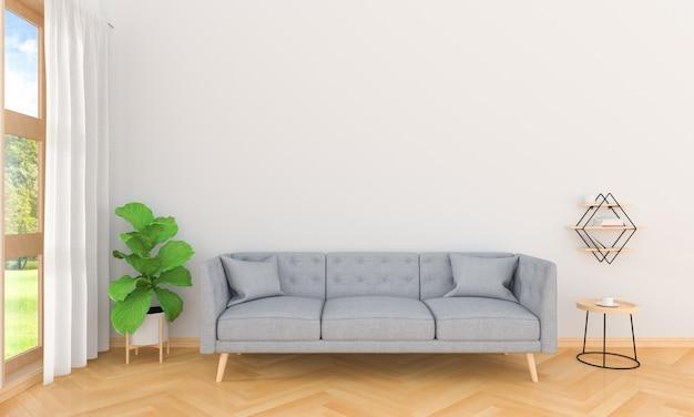 Sofà grigio nell'interno del salone, rappresentazione 3d Foto Premium