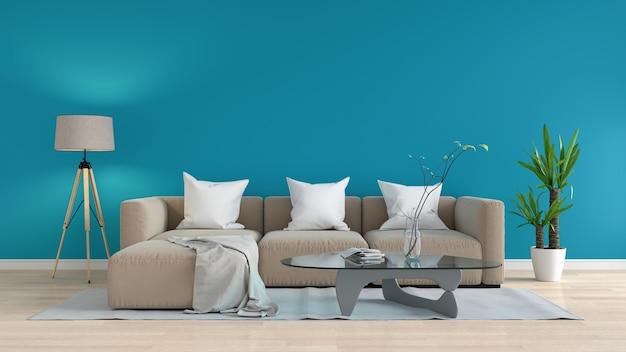 Sofà marrone modulare in salotto blu, rappresentazione 3d Foto Premium