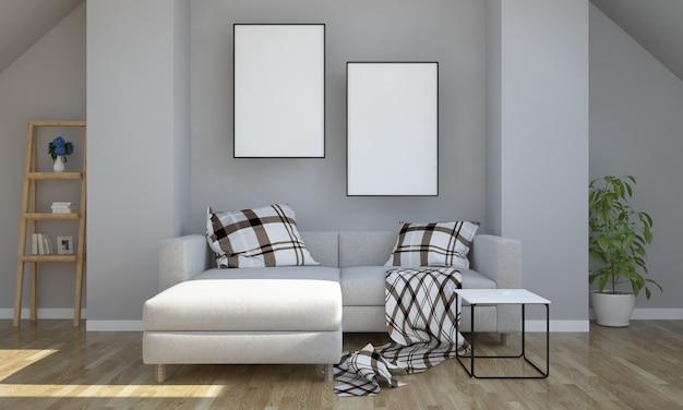 Soffitta grigia con mockup a due poster Foto Premium