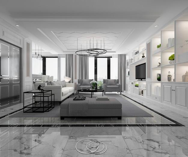 Soggiorno classico bianco moderno con piastrelle di marmo e libreria Foto Premium