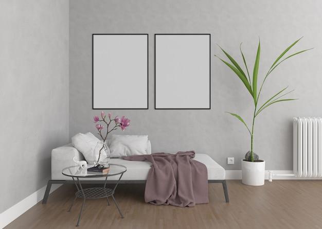 Soggiorno con cornici verticali, sfondo di opere d'arte, interni mockup Foto Premium