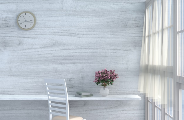 Soggiorno grigio-bianco con sedia color crema, orologio da ...