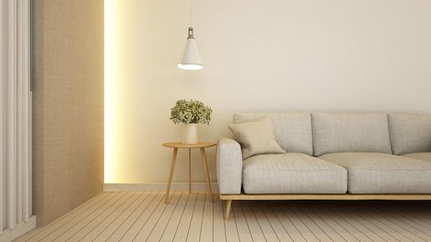 Soggiorno in appartamento o hotel - rendering 3d Foto Premium