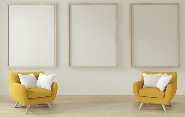 Soggiorno interno con bracciolo giallo divano shair. rendering 3d Foto Premium