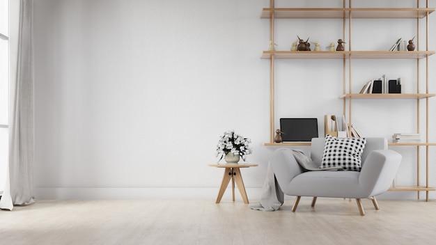 Soggiorno interno con divano bianco. rendering 3d. Foto Premium