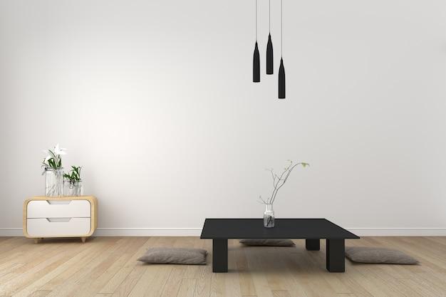 Soggiorno moderno con pavimento in legno e muro bianco - stile ...