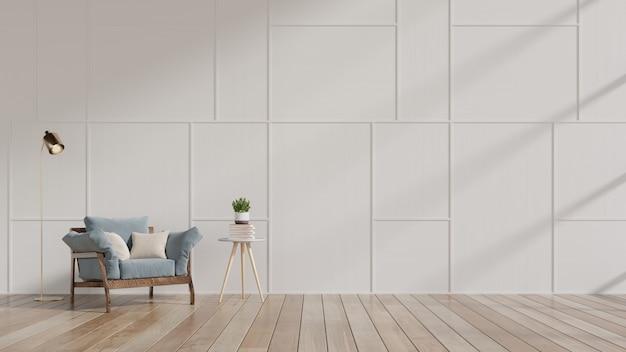 Soggiorno moderno con poltrona blu e mensole in legno su pavimento in legno e muro bianco. Foto Premium