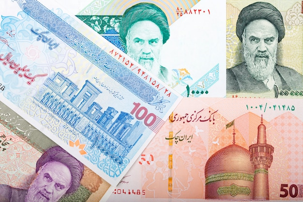 Soldi iraniani. rial business background Foto Premium