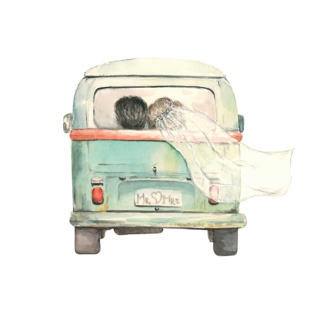 Solo una coppia sposata nell'autobus Foto Premium
