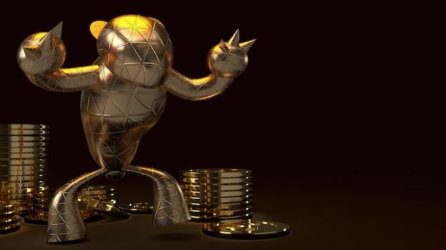 Sopportare l'oro e i procioni d'oro, rendering 3d su oscurità Foto Premium