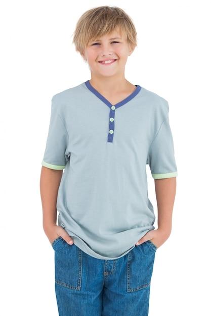 80cc5c16cb Sorridente ragazzo con una camicia blu | Scaricare foto Premium