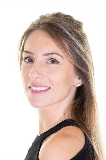 Sorridere di profilo del ritratto della donna di affari bello Foto Premium