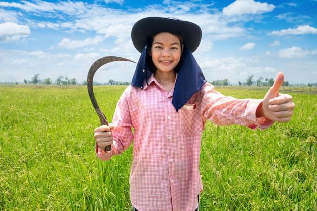 Sorriso felice femminile asiatico del giovane agricoltore e falce della tenuta in un giacimento e un cielo blu verdi del riso Foto Premium