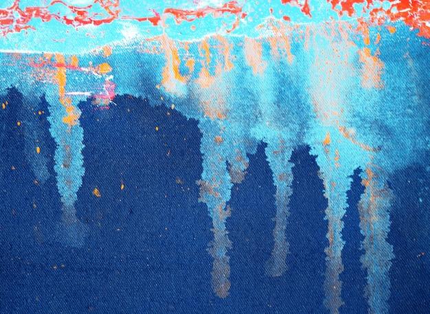 Spazio scuro blu della pittura a olio e fondo astratto di struttura. Foto Premium