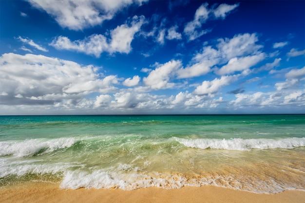Spiaggia e onde del mar dei caraibi Foto Premium