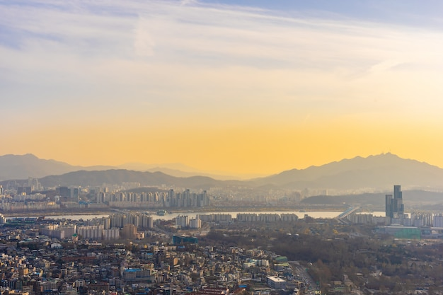 Splendido paesaggio e paesaggio urbano della città di seoul Foto Gratuite