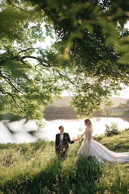 Spose felici stanno camminando intorno al campo Foto Gratuite