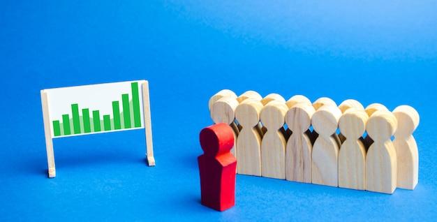 Squadra di affari con stand leader con programma. Foto Premium