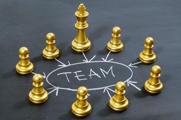 Squadra di scacchi d'oro e la squadra di parola sulla lavagna Foto Premium